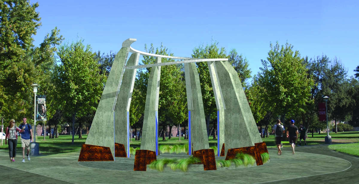 Architect's rendering of the new monument on the Fresno State campus.