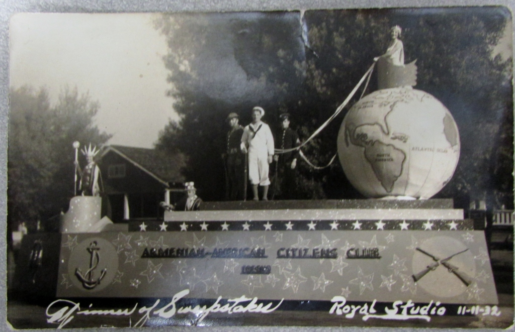Photo of the parade float of the Armenian-American Citizens Club taken on November 11, 1932. Founded in 1931, the organization later became known as the Armenian-American Citizens League. (Photo courtesy of the Aghavni Kazarian Family, Armenian Studies Program, Fresno State.)