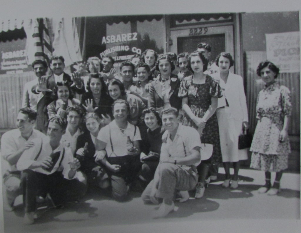 Photo of several Armenian youth posing before the Asbarez newspaper office at 2229 Ventura Avenue, circa 1930s. (Photo courtesy of the Armenian Studies Program, Fresno State).
