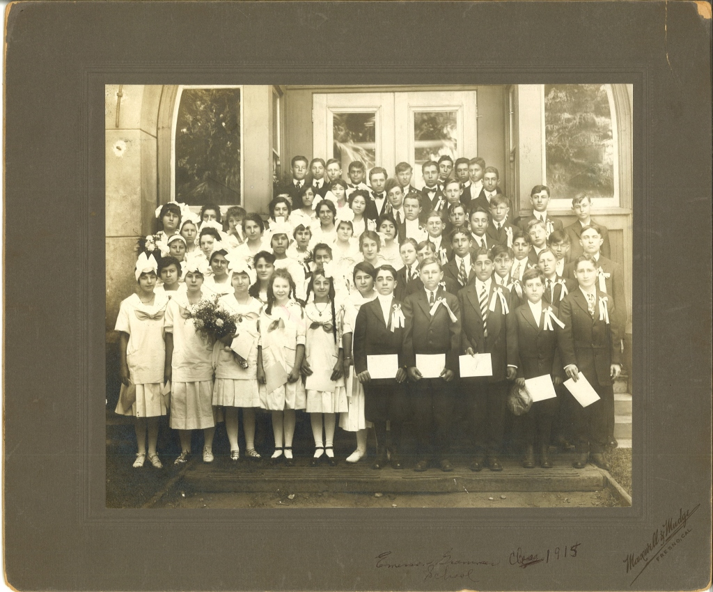 Photo of the Emerson Grammar School Class of 1915. Located at the intersection of Van Ness and Santa Clara avenues in the heart of Old Armenian Town, the school provided primary education to numerous immigrant and first generation Fresno Armenians.  (Photo from the Vahan Chagerian Daron Collection, donated by the Aghavni Kazarian Family to the Armenian Studies Program, Fresno State.)