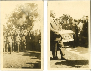 Two photographs taken at the funeral of General Antranik Ozanian in Fresno on August 31, 1927.  The fabled fedayee and military commander was a resident of Fresno from 1922 until his death.  His remains were moved to Paris the following year and eventually to the military cemetery Yerbalur in Yerevan, Armenia in 2000. The photos were taken by Sam (Harootiunian) Harrison and donated to the Archives of the Armenian Studies Program, Fresno State.